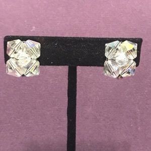 Vintage crystal clip on earrings.  2/$10 Sale